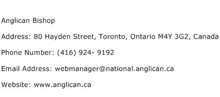 Anglican Bishop Address Contact Number