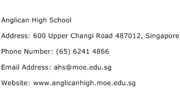 Anglican High School Address Contact Number