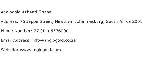 Anglogold Ashanti Ghana Address Contact Number