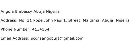 Angola Embassy Abuja Nigeria Address Contact Number