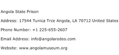 Angola State Prison Address Contact Number