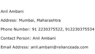 Anil Ambani Address Contact Number
