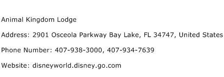 Animal Kingdom Lodge Address Contact Number