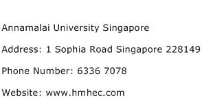 Annamalai University Singapore Address Contact Number