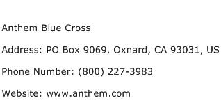 Anthem Blue Cross Address Contact Number