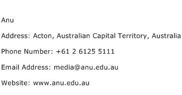 Anu Address Contact Number