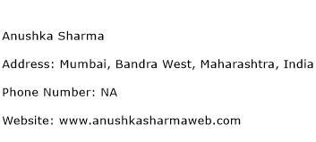 Anushka Sharma Address Contact Number