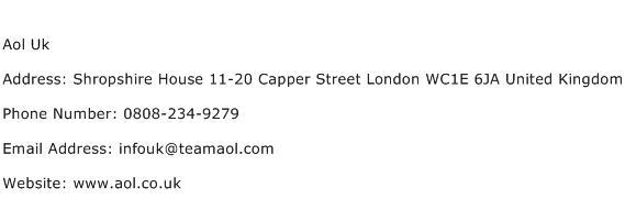 Aol Uk Address Contact Number