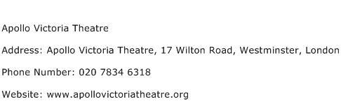Apollo Victoria Theatre Address Contact Number