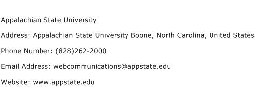 Appalachian State University Address Contact Number