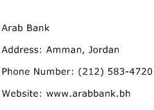 Arab Bank Address Contact Number
