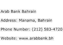 Arab Bank Bahrain Address Contact Number