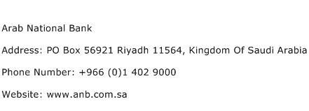 Arab National Bank Address Contact Number