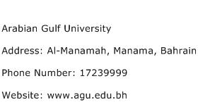 Arabian Gulf University Address Contact Number