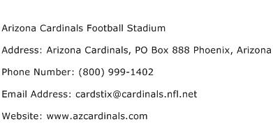 Arizona Cardinals Football Stadium Address Contact Number