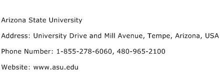 Arizona State University Address Contact Number