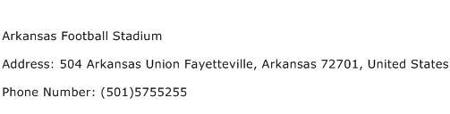 Arkansas Football Stadium Address Contact Number