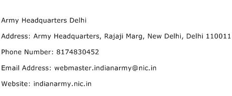 Army Headquarters Delhi Address Contact Number