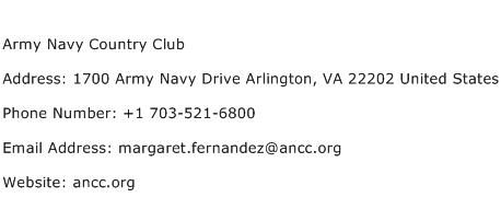Army Navy Country Club Address Contact Number