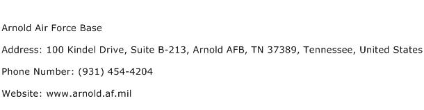 Arnold Air Force Base Address Contact Number