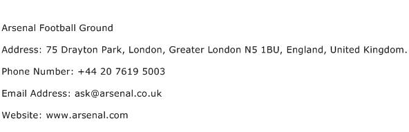 Arsenal Football Ground Address Contact Number