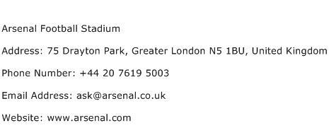 Arsenal Football Stadium Address Contact Number