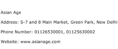 Asian Age Address Contact Number