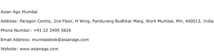 Asian Age Mumbai Address Contact Number