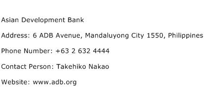 Asian Development Bank Address Contact Number