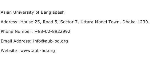 Asian University of Bangladesh Address Contact Number
