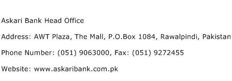 Askari Bank Head Office Address Contact Number