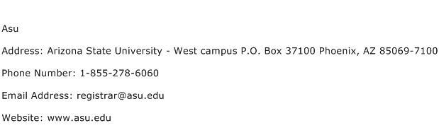 Asu Address Contact Number