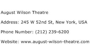 August Wilson Theatre Address Contact Number