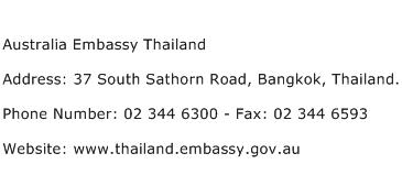 Australia Embassy Thailand Address Contact Number