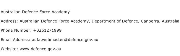 Australian Defence Force Academy Address Contact Number