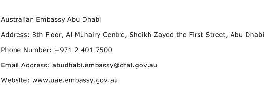 Australian Embassy Abu Dhabi Address Contact Number