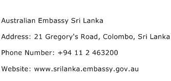 Australian Embassy Sri Lanka Address Contact Number