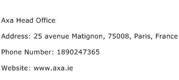 Axa Head Office Address Contact Number