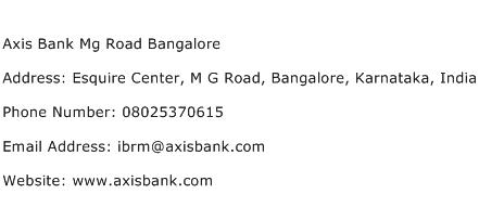 Axis Bank Mg Road Bangalore Address Contact Number