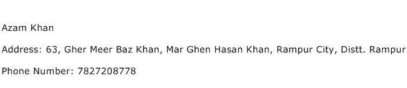 Azam Khan Address Contact Number