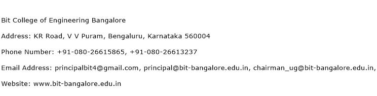 BIT College of Engineering Bangalore Address Contact Number