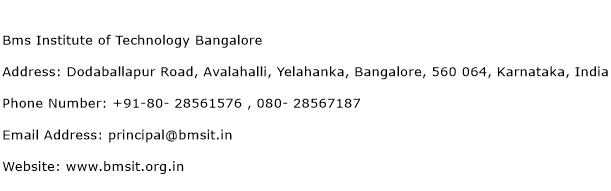 BMS Institute of Technology Bangalore Address Contact Number