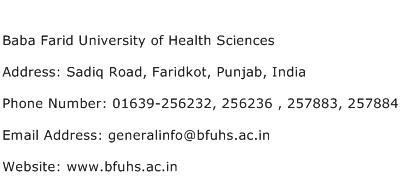 Baba Farid University of Health Sciences Address Contact Number