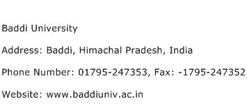 Baddi University Address Contact Number