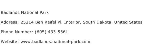 Badlands National Park Address Contact Number