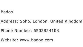 Badoo Address Contact Number