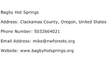 Bagby Hot Springs Address Contact Number