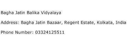 Bagha Jatin Balika Vidyalaya Address Contact Number
