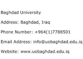 Baghdad University Address Contact Number
