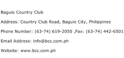Baguio Country Club Address Contact Number